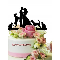 Cake topper Couple with pets