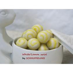 Felt balls swirl 03 lemon
