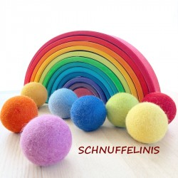 Felt balls rainbow your size