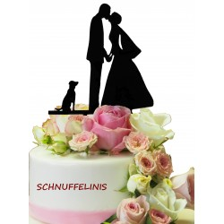 Cake topper Brautpaar + Hund