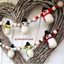 Snowmen felt Christmas garland