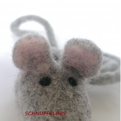 grey felt mouse cat toy