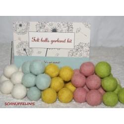 felt balls garland spring DIY