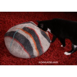 Cat cave grey colored stripes