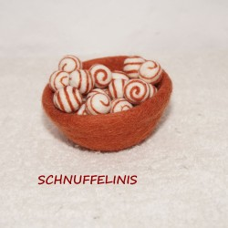 Felt balls swirl 44 brick red