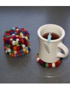 Filzkugeln Untersetzer in bunt oder Wunschfarben